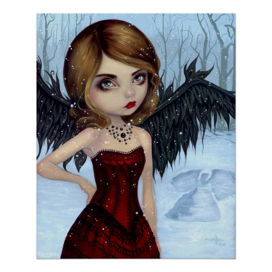 Snow Angels winter fairy Art Print