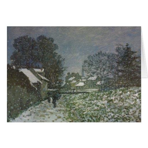Snow at Argenteuil by Claude Monet, Vintage Art Card