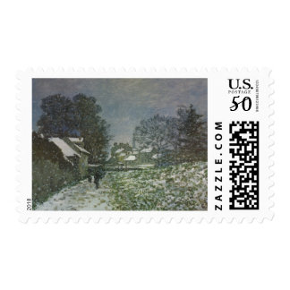 Snow at Argenteuil by Claude Monet, Vintage Art Postage
