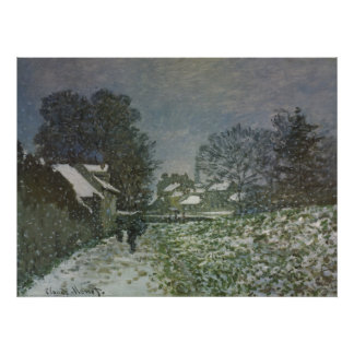 Snow at Argenteuil by Claude Monet, Vintage Art Poster