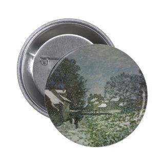 Snow at Argenteuil II, Monet Vintage Impressionism Button