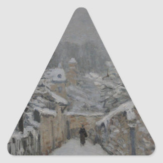 Snow at Louveciennes by Alfred Sisley Triangle Sticker