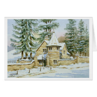Snow at Stowell Lodge Gate Greeting Card