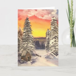 Snow At Sunset Card