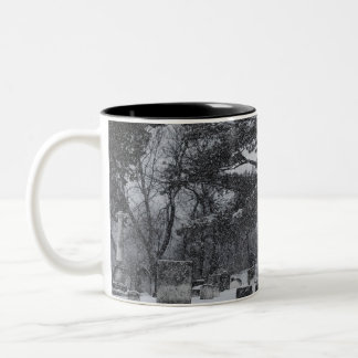 Snow at the Graveyard Two-Tone Coffee Mug