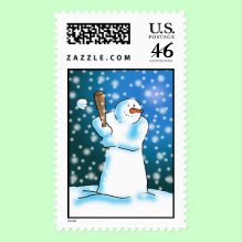 Snow Ball Stamp - Strike! - Most people play sports in winter to keep warm but it's quite the opposite if you happen to be a snowman. This snowman loves the feeling when the snowball turns to powder when he hits it!