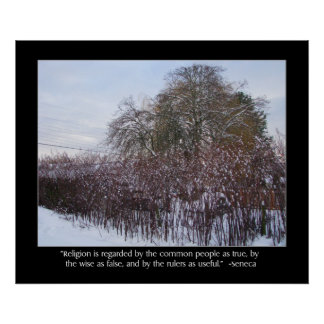 Snow, Bamboo and Trees with Seneca Quote Poster