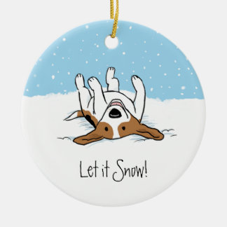 Snow Beagle Double-Sided Ceramic Round Christmas Ornament