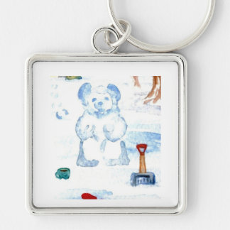 """Snow Bear""  CricketDiane Coffee Art Silver-Colored Square Keychain"