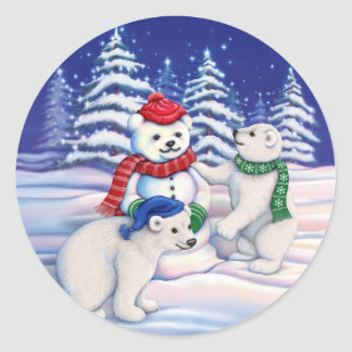 Snow Bears Classic Round Sticker