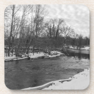 Snow Beauty James River Grayscale Drink Coaster