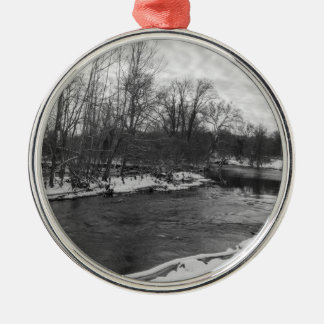 Snow Beauty James River Grayscale Metal Ornament