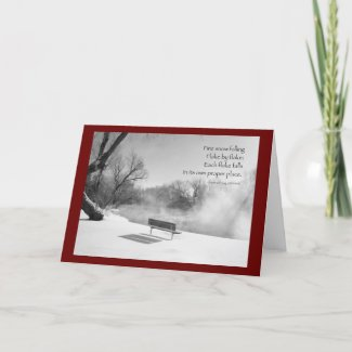 Snow Bench in Silence zazzle_card