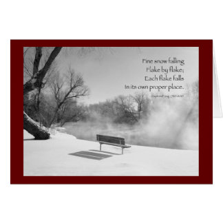 Snow Bench in Silence Greeting Cards
