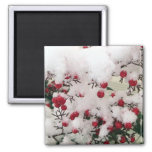 Snow Berries 2 Inch Square Magnet