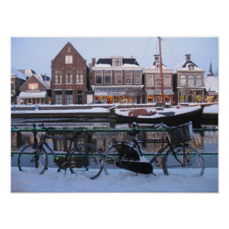 Snow Bicycles in Holland Photo Poster Art