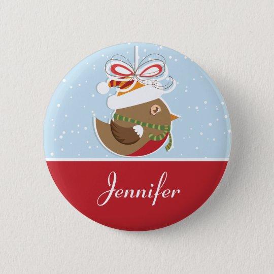 snow bird christmas party name badge name tags pinback button