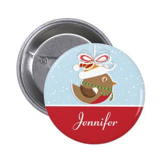 Snow Bird Christmas Party Name Badge | Name Tags Pinback Button