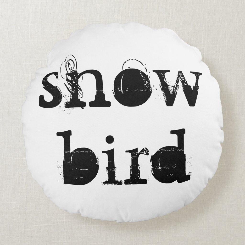'Snow Bird' Cotton Round Pillow
