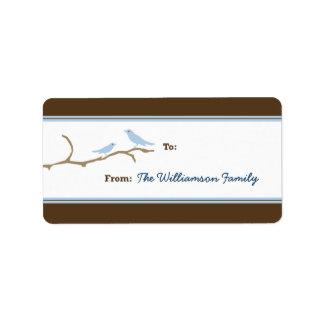Snow Birds Holiday Gift Tag (brown/blue) Custom Address Label