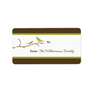 Snow Birds Holiday Gift Tag (brown/lime) Custom Address Label