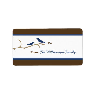 Snow Birds Holiday Gift Tag (brown/navy) Custom Address Labels