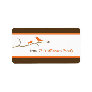 Snow Birds Holiday Gift Tag (brown/orange) Personalized Address Labels