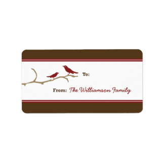 Snow Birds Holiday Gift Tag (brown/red) Address Label