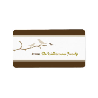 Snow Birds Holiday Gift Tag (brown/taupe) Personalized Address Labels