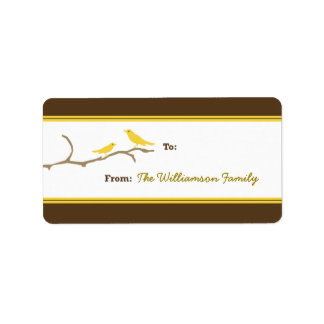Snow Birds Holiday Gift Tag (brown/yellow) Personalized Address Label