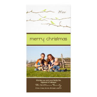 Snow Birds Merry Christmas Photocard lime Photo Greeting Card