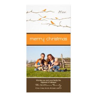 Snow Birds Merry Christmas Photocard orange Custom Photo Card