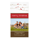 Snow Birds Merry Christmas Photocard (red) Personalized Photo Card