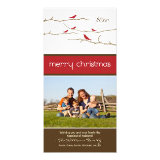 Snow Birds Merry Christmas Photocard red Personalized Photo Card