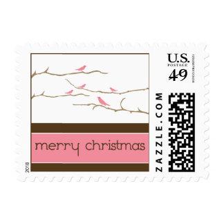 Snow Birds Merry Christmas Postage (pink)