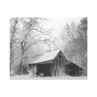 Snow Blanketed Barn Canvas Print