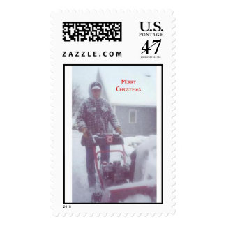 Snow blower Christmas Postage Stamp