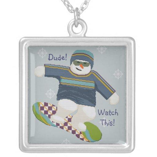 SNOW BOARDER Snow Man Design Necklace
