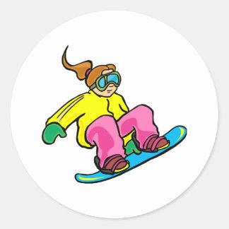 Snow Boarding Girl Stickers