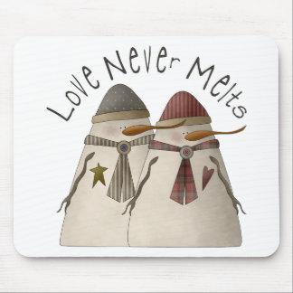 Snow Bobbins · Love Never Melts Mouse Pad