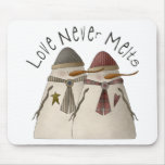 Snow Bobbins · Love Never Melts Mousepads