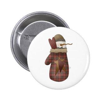 Snow Bobbins · Snowman Mitten Pinback Buttons