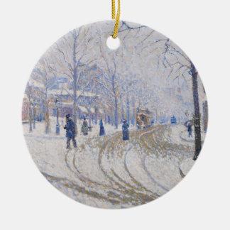 Snow, Boulevard de Clichy, Paris, 1886 Ceramic Ornament