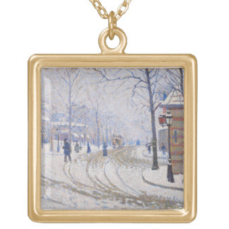 Snow, Boulevard de Clichy, Paris, 1886 Gold Plated Necklace
