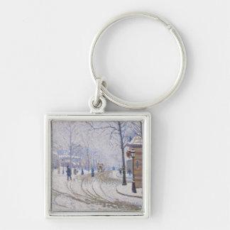 Snow, Boulevard de Clichy, Paris, 1886 Keychain