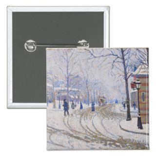 Snow, Boulevard de Clichy, Paris, 1886 Pinback Button
