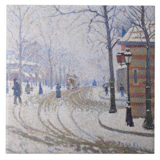 Snow, Boulevard de Clichy, Paris, 1886 Tile