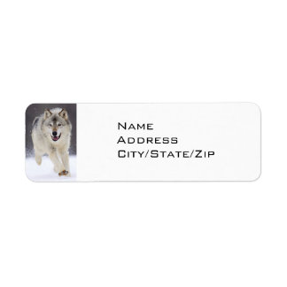 SNOW BOUND GREY WOLF RETURN ADDRESS LABEL