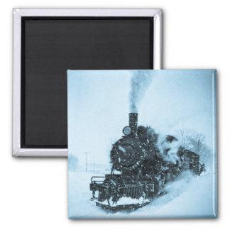 Snow Bound Train 2 Inch Square Magnet