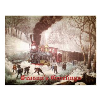 Snow Bound Train Business Christmas Card Postcard